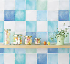 self adhesive wallpaper blue 50cm 500cm kitchen bathroom toilet water blue mosaic wallpaper