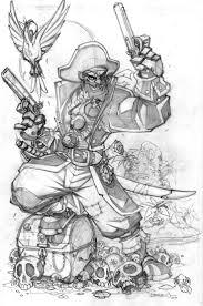 drawn pirate sketch pencil and in color drawn pirate sketch