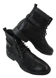 mens black brown lace up army military punk rock casual boots