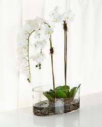 faux orchids ndi orchids in glass faux floral arrangement neiman