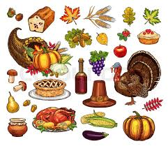 thanksgiving symbols and sketch icons vector isolated set