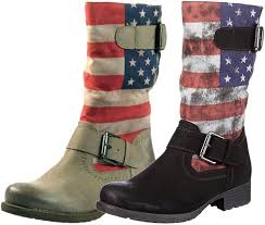 biker style boots marco tozzi usa flag warm fur lined biker style boots in black