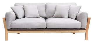 pied de canapé design canapé design 3 places kyo déhoussable gris clair pieds bois
