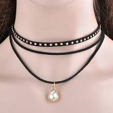 leather bib necklace images Steampunk 3 layers black ribbon chocker necklace women fashion jpg