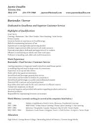 Work Experience Resume Sample Customer Service by Bartender Server Resume Dedicated To Excellence And Superior