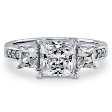 3 engagement ring sterling silver princess cubic zirconia cz 3 engagement ring
