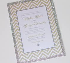 wedding invitations gold and white payton glitter wedding invitation chevron invitation