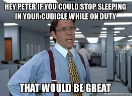 Cubicle Meme - hey peter if you could stop sleeping in your cubicle while on duty