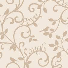Love Laugh Live Fine Decor Live Love Laugh Scroll Wallpaper Cream Gold Fd40286