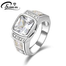 fashion jewelry white rings cz ip white gold filled