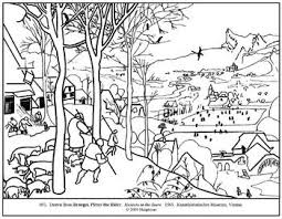 bruegel hunters snow coloring lesson plan ideas