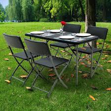 Outdoor Bbq Furniture by Ikayaa Rattan Portable Folding Table U0026 Chiar U0026 Bench For Outdoor