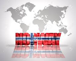 Norweigan Flag Word Norway With Norwegian Flag On A World Map Background Stock