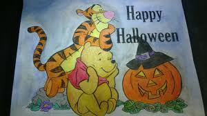 winnie the pooh u0026 tigger halloween coloring page for kids