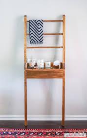 leaning bathroom shelf