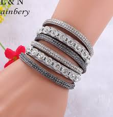 leather crystal bracelet images Rainbery 2018 new fashion leather bracelet punk style multilayer jpg
