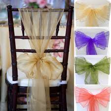 organza chair sashes 100pcs 28 colors organza chair sashes bow cover wedding party