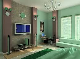 Color Designs For Bedrooms With Modern LCD TV And Green Wall - Color design for bedroom