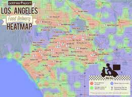 Los Angeles Downtown Map by The Los Angeles Food Delivery Heatmap Where To Live In La If You