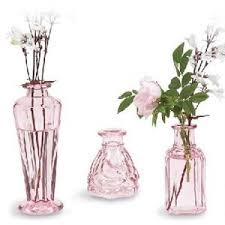 Vase Sets Shabby Pink Cologne Bottle Bud Vases Set 3 Rose Blossom Co