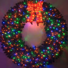 6 foot color changing l e d prelit wreath