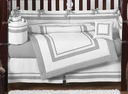 Gray Baby Crib Bedding White And Gray Modern Hotel Baby Bedding 9pc Crib Set By Sweet