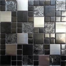 metalic random mix brushed steel black hong kong glass mosaic