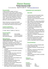 trainee insurance broker cv sample