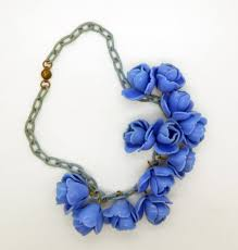 Blue Roses Blue Roses Early Plastic Celluloid Chain Necklace
