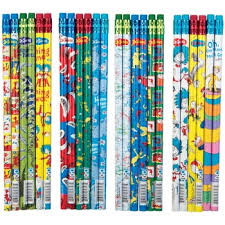 dr seuss assorted gift wrapping paper wholesale novelty pencils colorful pencils in bulk dollardays