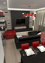 black and red living room set including entertain 2017 pictures