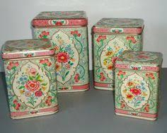 vintage kitchen canister sets floral kitchen canister set embossed tins