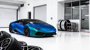 car lamborghini blue blue car lamborghini huracan in the garage wallpapers and images