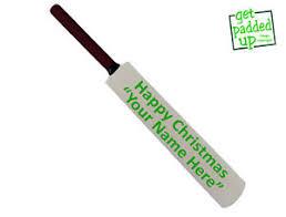 personalised happy or merry mini miniature cricket bat