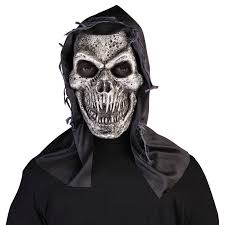 black hooded bloody skull mask reaper zombie horror halloween