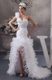 high to low wedding dress trumpet mermaid one shoulder beaded hi low wedding dresses