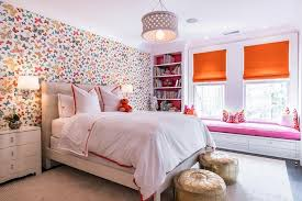 pink bedroom with pink butterfly wallpaper contemporary