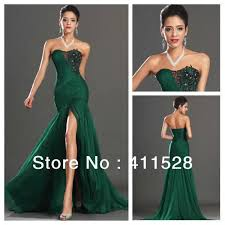 online shop emerald green chiffon dress mermaid long evening