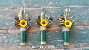 sunflower corsage green shotgun shell sunflower boutonniere buttonhole lapel pin