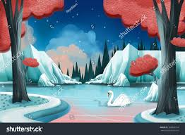 creative illustration innovative art swan lake stock illustration