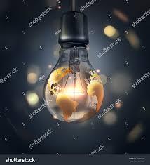 A World Map Glowing Light Bulb World Map On Stock Illustration 725395426