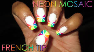neon mosaic french tip diy nail art tutorial youtube