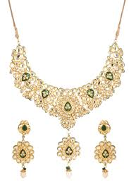 indian bridal necklace images Dilan jewels pure collection green colour meena ethnic kundan jpg