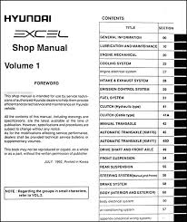 1993 hyundai excel repair shop manual original 2 volume set