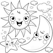 sun moon stars coloring stock vector art 612012810 istock