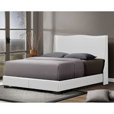 Overstock Bed Frame Baxton Studio Duncombe White Modern Bed With Upholstered Headboard