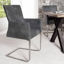 Esszimmerstuhl In Grau Armlehnstuhl Freischwinger Saber Sessel Vintage Grau