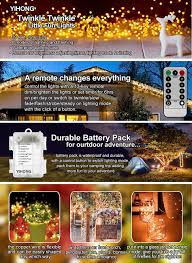 amazon com fairy lights battery operated yihong 8 modes string