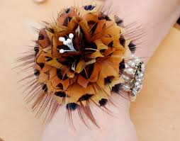Wedding Boutonniere Emma Wrist Corsage Feather Corsage Wedding Pin Wedding