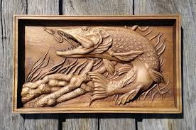 pike carved fish wood carving nautical hanging home decor